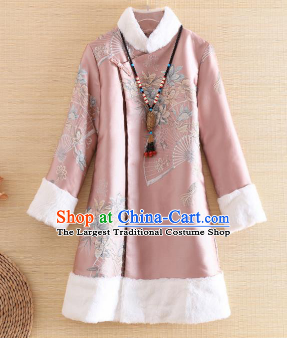 Chinese Traditional Tang Suit Printing Pink Jacket National Costume Qipao Upper Outer Garment for Women