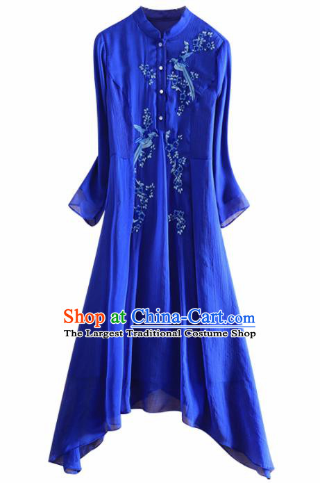 Chinese Traditional Tang Suit Embroidered Royalblue Cheongsam National Costume Qipao Dress for Women