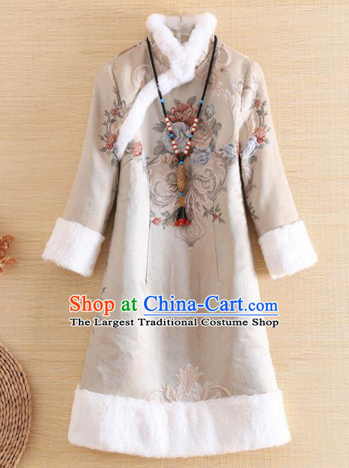Chinese Traditional Tang Suit Printing Jacket National Costume Qipao Upper Outer Garment for Women