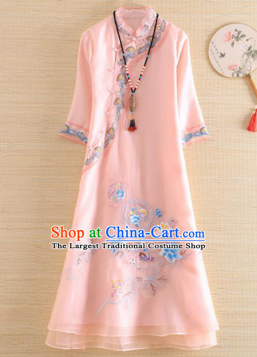 Chinese Traditional Tang Suit Embroidered Pink Organza Cheongsam National Costume Qipao Dress for Women