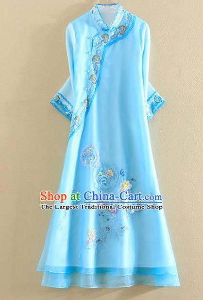 Chinese Traditional Tang Suit Embroidered Blue Organza Cheongsam National Costume Qipao Dress for Women