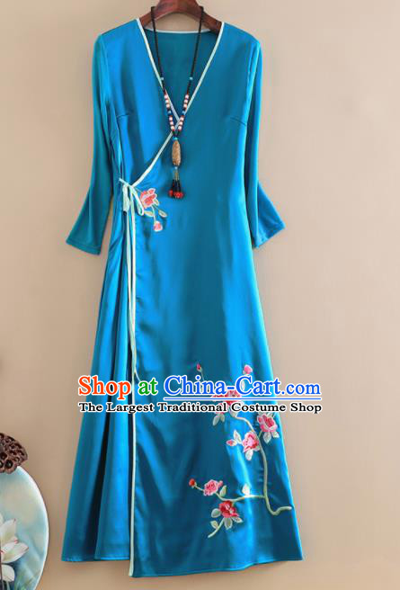 Chinese Traditional Tang Suit Embroidered Blue Brocade Cheongsam National Costume Qipao Dress for Women
