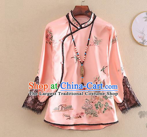 Chinese Traditional Tang Suit Embroidered Pink Shirt National Costume Qipao Upper Outer Garment for Women