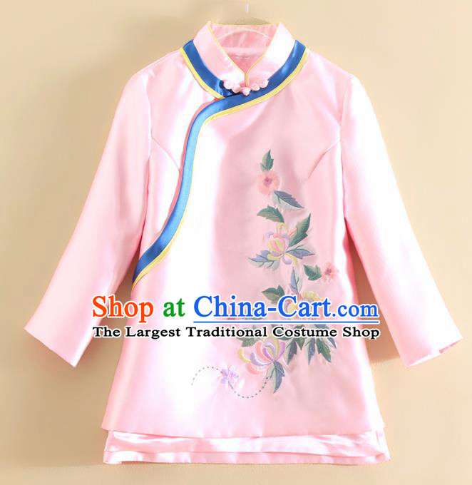 Chinese Traditional Tang Suit Embroidered Pink Satin Shirt National Costume Qipao Upper Outer Garment for Women