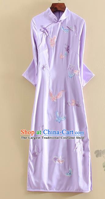 Chinese Traditional Tang Suit Embroidered Butterfly Purple Cheongsam National Costume Qipao Dress for Women