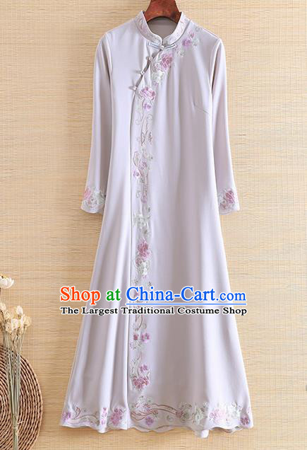 Chinese Traditional Tang Suit Embroidered Grey Cheongsam National Costume Qipao Dress for Women
