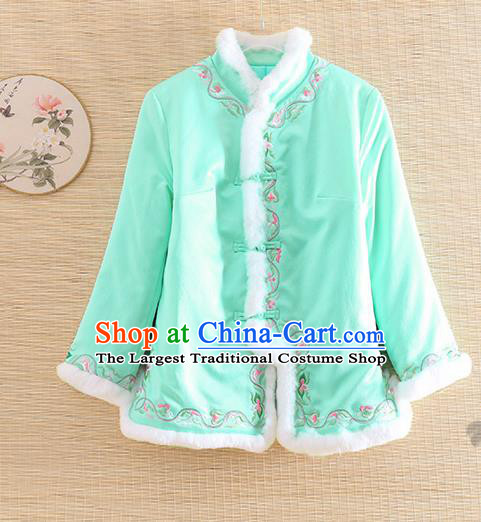 Chinese Traditional Winter Green Jacket National Costume Qipao Upper Outer Garment for Women