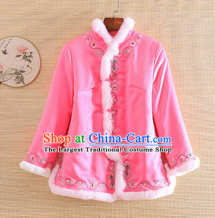 Chinese Traditional Winter Pink Jacket National Costume Qipao Upper Outer Garment for Women