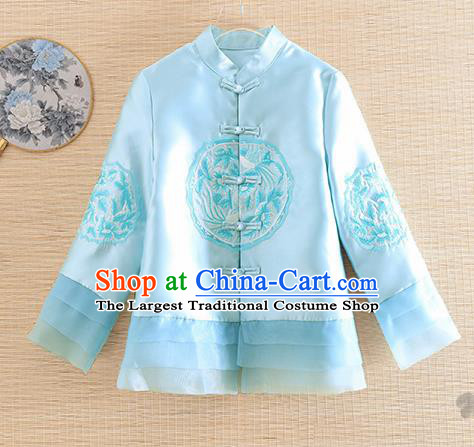 Chinese Traditional Embroidered Blue Jacket National Costume Qipao Upper Outer Garment for Women