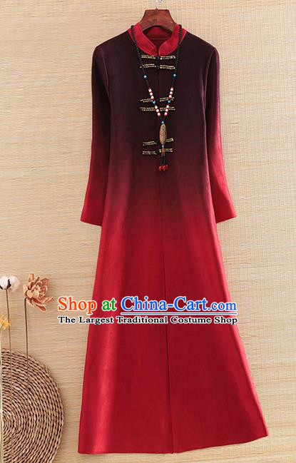Chinese Traditional Printing Wine Red Dust Coat National Costume Qipao Upper Outer Garment for Women