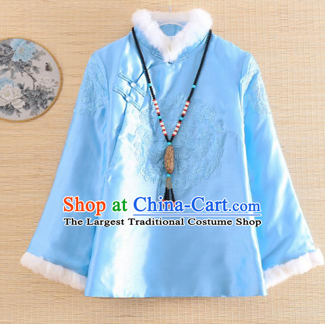 Chinese Traditional Embroidered Light Blue Quilted Jacket National Costume Qipao Upper Outer Garment for Women