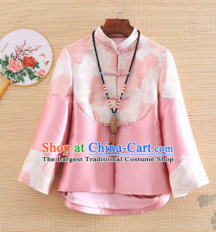 Chinese Traditional Tang Suit Pink Jacket National Costume Qipao Upper Outer Garment for Women
