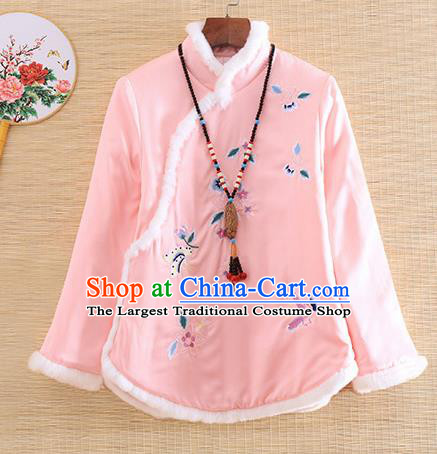 Chinese Traditional Tang Suit Embroidered Pink Cotton Padded Jacket National Costume Qipao Upper Outer Garment for Women