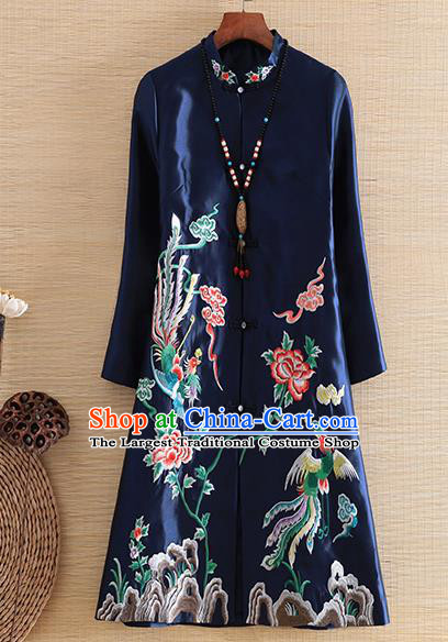Chinese Traditional Tang Suit Embroidered Navy Dust Coat National Costume Qipao Outer Garment for Women