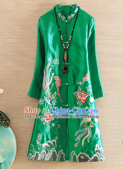 Chinese Traditional Tang Suit Embroidered Green Dust Coat National Costume Qipao Outer Garment for Women