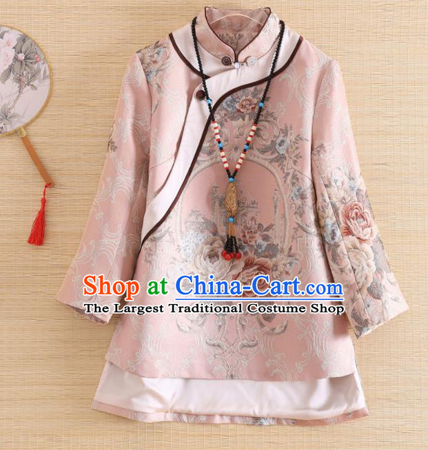 Chinese Traditional Tang Suit Printing Pink Blouse National Costume Qipao Upper Outer Garment for Women
