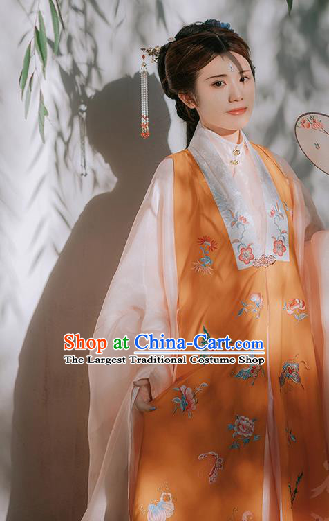 Traditional Chinese Ming Dynasty Historical Costumes Orange Vest Ancient Imperial Consort Hanfu Dress for Women