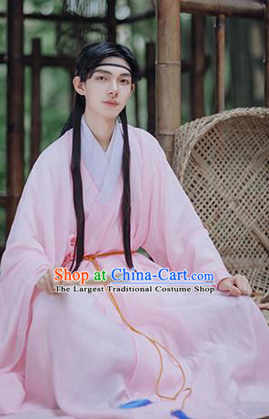 Traditional Chinese Ming Dynasty Scholar Historical Costumes Ancient Civilian Pink Hanfu Clothing for Men
