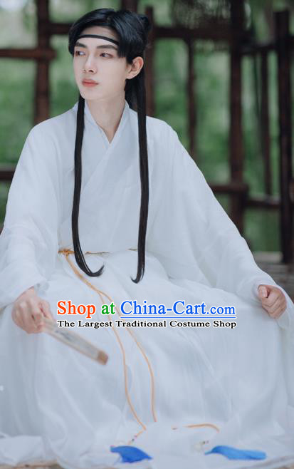 Traditional Chinese Ming Dynasty Taoist Priest White Robe Ancient Civilian Scholar Historical Costumes for Men