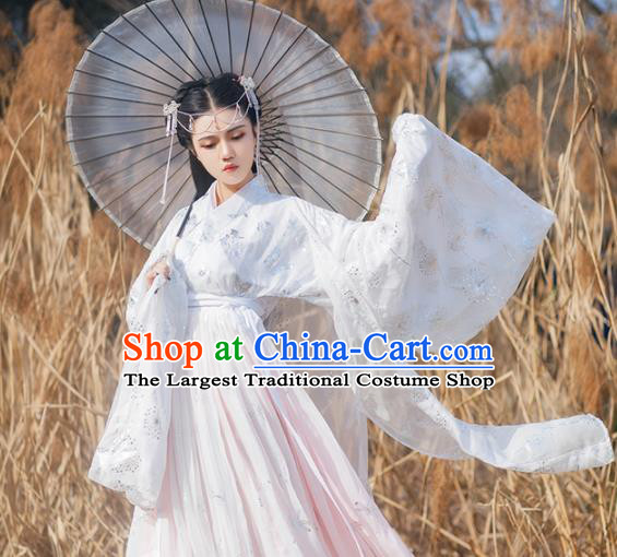 Traditional Chinese Jin Dynasty Princess Pink Hanfu Dress Ancient Court Lady Historical Costumes for Women