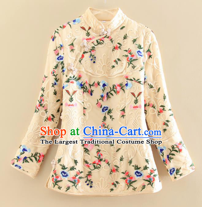 Chinese Traditional Tang Suit Embroidered Beige Shirt National Costume Qipao Upper Outer Garment for Women