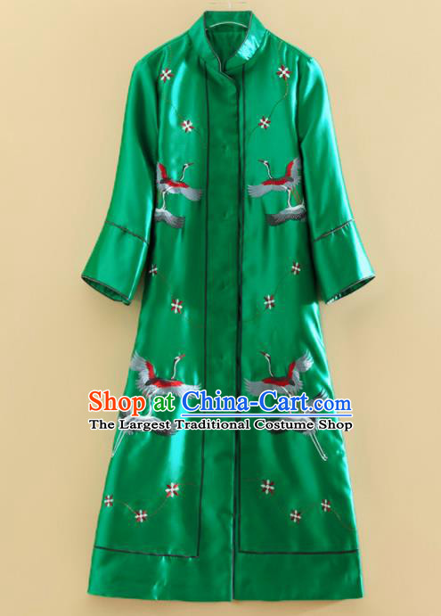 Chinese Traditional Tang Suit Embroidered Cranes Green Dust Coat National Costume Qipao Outer Garment for Women