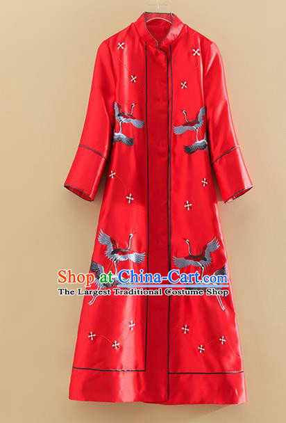 Chinese Traditional Tang Suit Embroidered Cranes Red Dust Coat National Costume Qipao Outer Garment for Women