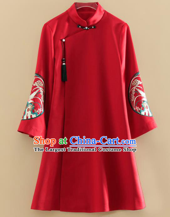 Chinese Traditional Tang Suit Embroidered Red Cotton Wadded Jacket National Costume Qipao Upper Outer Garment for Women