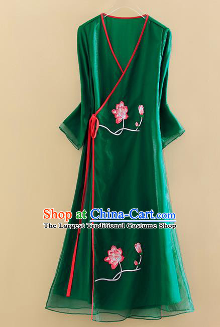 Chinese Traditional Tang Suit Embroidered Lotus Green Organza Cheongsam National Costume Qipao Dress for Women