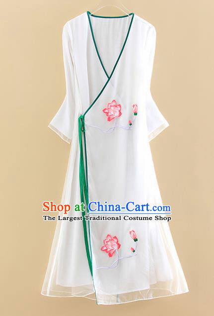 Chinese Traditional Tang Suit Embroidered Lotus White Organza Cheongsam National Costume Qipao Dress for Women