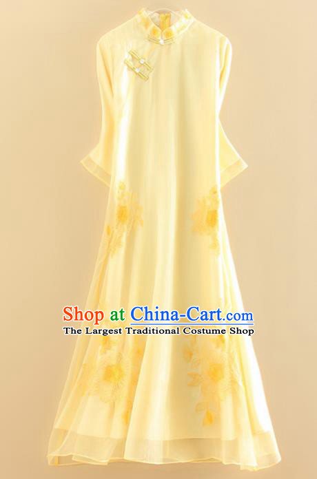 Chinese Traditional Tang Suit Embroidered Flowers Yellow Cheongsam National Costume Qipao Dress for Women