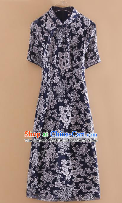 Chinese Traditional Tang Suit Printing Navy Cheongsam National Costume Qipao Dress for Women