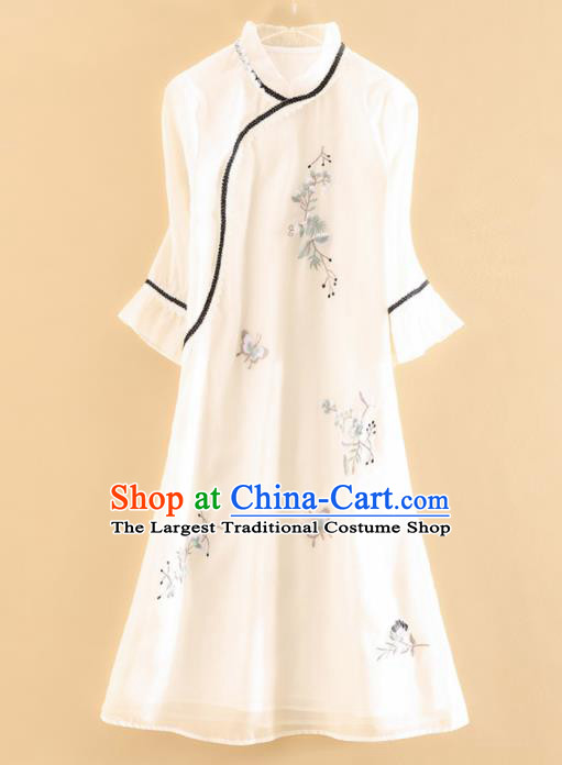 Chinese Traditional Tang Suit Embroidered White Cheongsam National Costume Qipao Dress for Women