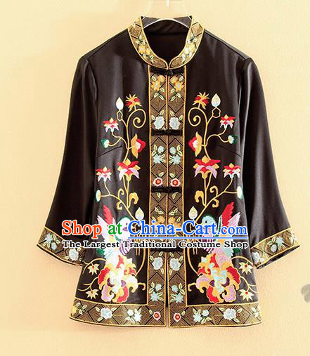 Chinese Traditional Tang Suit Embroidered Birds Black Blouse National Costume Qipao Upper Outer Garment for Women