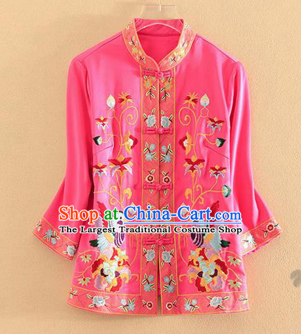 Chinese Traditional Tang Suit Embroidered Birds Rosy Blouse National Costume Qipao Upper Outer Garment for Women