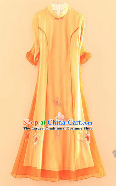 Chinese Traditional Tang Suit Embroidered Lotus Orange Cheongsam National Costume Qipao Dress for Women