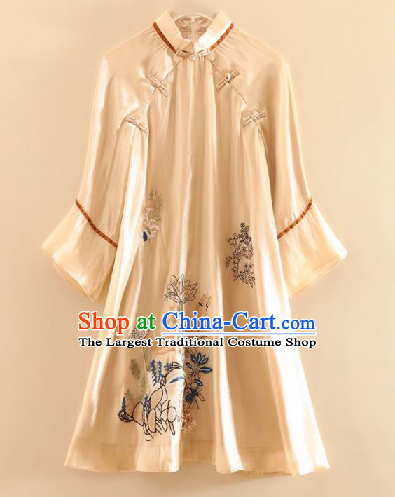 Chinese Traditional Tang Suit Embroidered Lotus Champagne Blouse National Costume Qipao Upper Outer Garment for Women