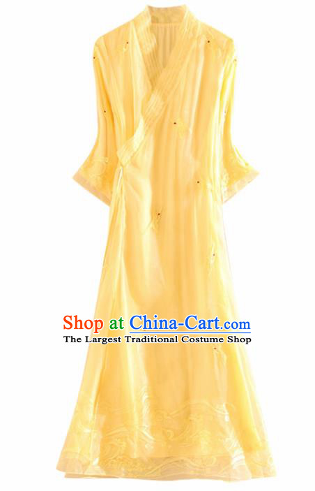 Chinese Traditional Tang Suit Embroidered Crane Yellow Organza Cheongsam National Costume Qipao Dress for Women