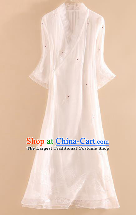 Chinese Traditional Tang Suit Embroidered Crane White Organza Cheongsam National Costume Qipao Dress for Women