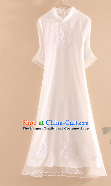 Chinese Traditional Tang Suit Embroidered Phoenix White Cheongsam National Costume Qipao Dress for Women