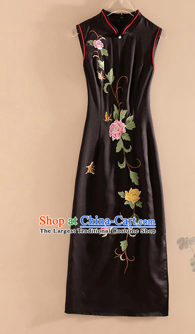 Chinese Traditional Tang Suit Embroidered Peony Black Silk Cheongsam National Costume Qipao Dress for Women