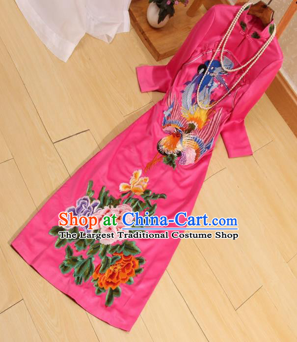 Traditional Chinese National Embroidered Phoenix Peony Rosy Qipao Dress Tang Suit Cheongsam Costume for Women