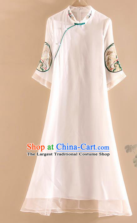 Chinese Traditional Tang Suit Embroidered White Organza Cheongsam National Costume Qipao Dress for Women