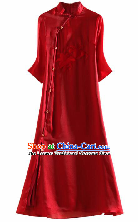 Chinese Traditional Tang Suit Embroidered Lily Flowers Red Organza Cheongsam National Costume Qipao Dress for Women