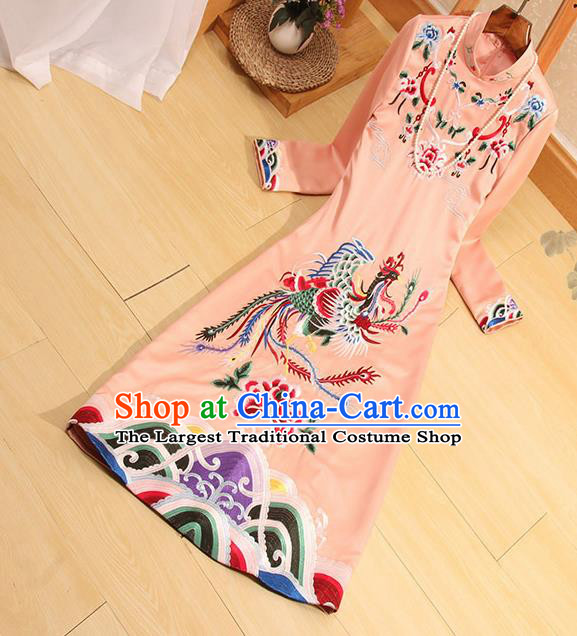 Traditional Chinese National Embroidered Phoenix Light Pink Qipao Dress Tang Suit Cheongsam Costume for Women