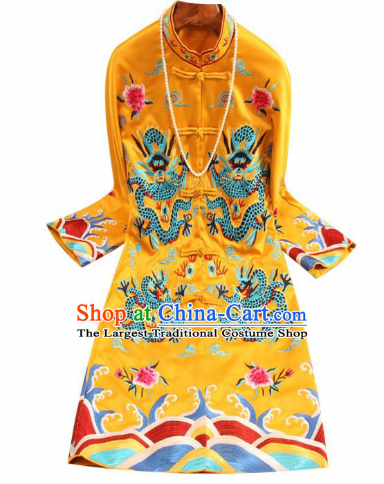 Chinese Traditional Tang Suit Embroidered Dragons Golden Coat National Costume Qipao Upper Outer Garment for Women