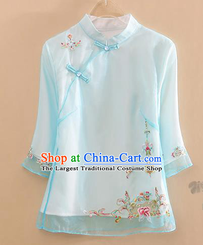 Chinese Traditional Tang Suit Embroidered Blue Organza Blouse National Costume Qipao Upper Outer Garment for Women