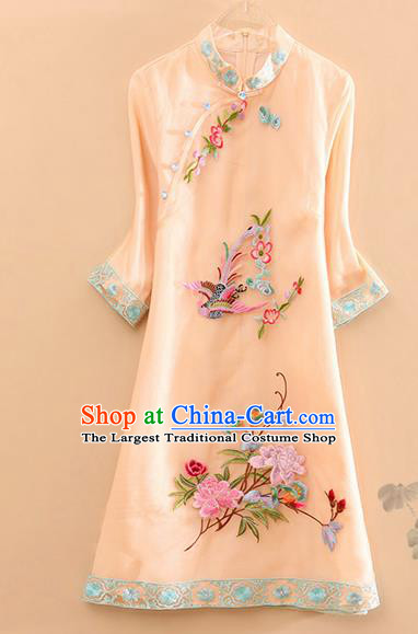Traditional Chinese Tang Suit Embroidered Phoenix Peony Beige Cheongsam National Costume Qipao Dress for Women