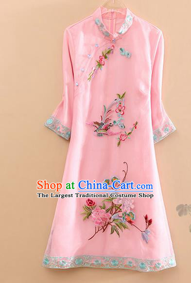Traditional Chinese Tang Suit Embroidered Phoenix Peony Pink Cheongsam National Costume Qipao Dress for Women