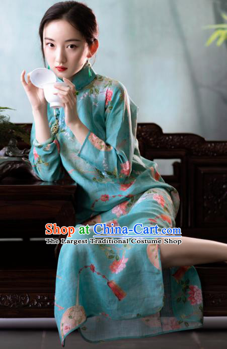Traditional Chinese National Printing Blue Flax Qipao Dress Tang Suit Cheongsam Costume for Women